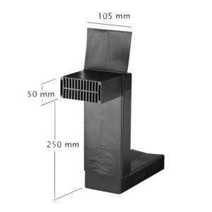 Vloerventilatie koker zwart 50x105mm instelbaar 250-410mm